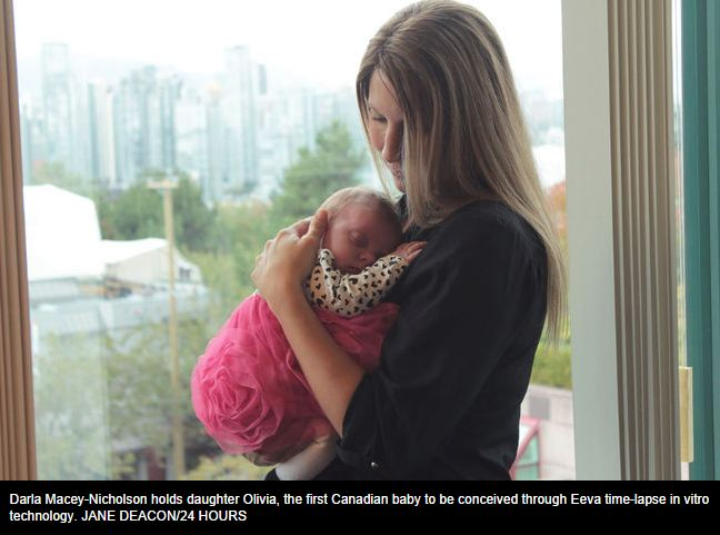 Darla Macey-Nicholson holds daughter Olivia, the first Canadian to be conceived with the help of Eeva time-lapse in vitro technology.